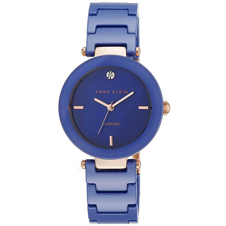Anne Klein Ladies' Diamond Set Blue Ceramic Bracelet Watch - Product number 5240018