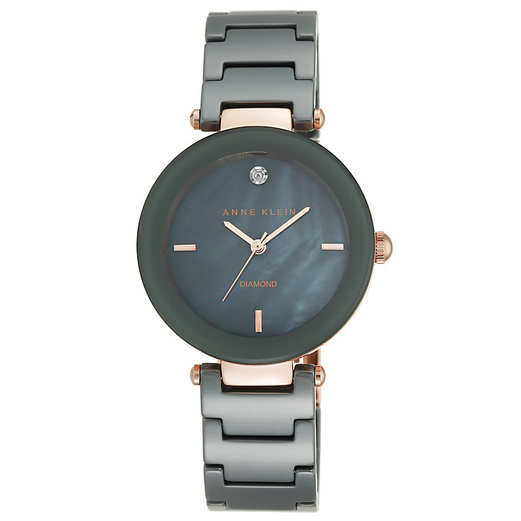 Anne Klein Ladies' Diamond Set Grey Ceramic Bracelet Watch - Product number 5240026
