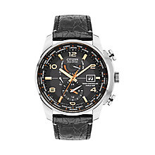 Citizen Eco-Drive World Time Men's Black Leather Strap Watch - Product number 5240182
