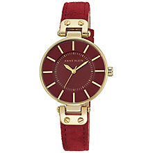 Anne Klein Ladies' Gold-Plated Red Leather Strap Watch - Product number 5246989