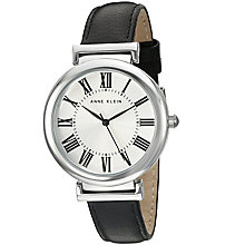 Anne Klein Ladies' Silver Dial Black Leather Strap Watch - Product number 5247004