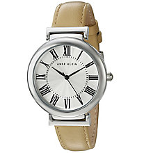 Anne Klein Ladies' Silver Dial Cream Leather Strap Watch - Product number 5247012