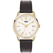 Henry London Men's Gold-Plated Black Leather Strap Watch - Product number 5247527