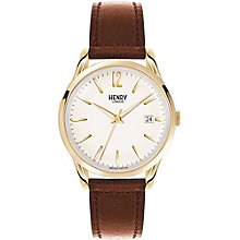 Henry London Men's Gold-Plated Brown Leather Strap Watch - Product number 5247535
