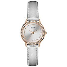 Guess Ladies' Stone Set Silver Leather Strap Watch - Product number 5248442