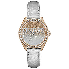 Guess Ladies' Stone Set Silver Leather Strap Watch - Product number 5248450