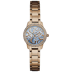 Guess Ladies' Blue Dial Rose Gold-Plated Bracelet Watch - Product number 5248477