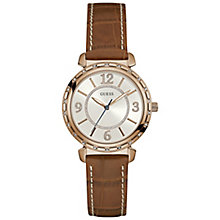 Guess Ladies' White Dial Brown Leather Strap Watch - Product number 5248485