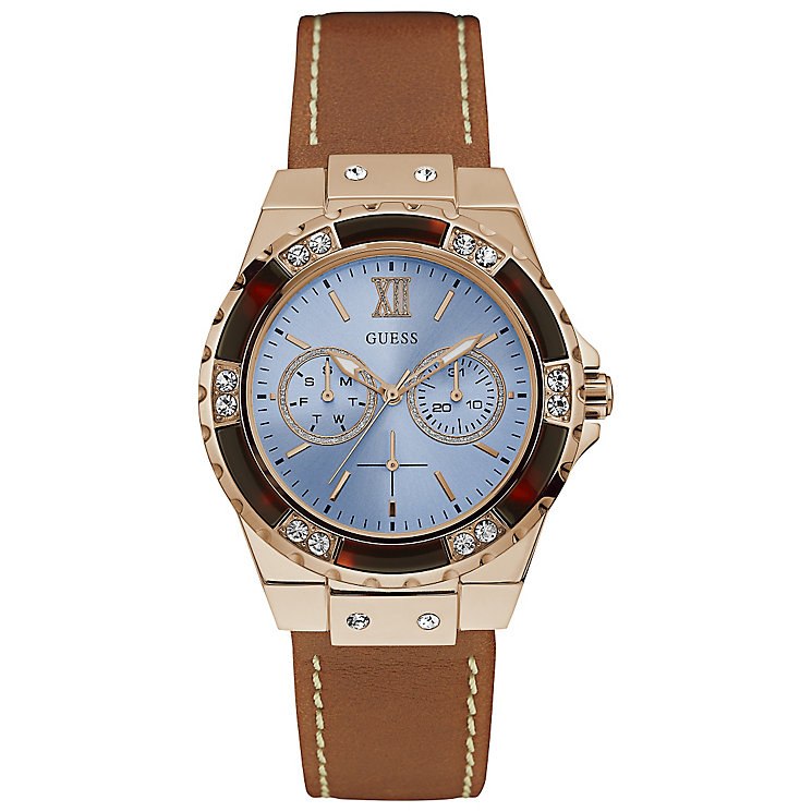 Guess Ladies' Blue Dial Stone Set Brown Leather Strap Watch - Product number 5248493