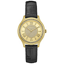 Guess Ladies' Gold Dial Black Leather Strap Watch - Product number 5248523