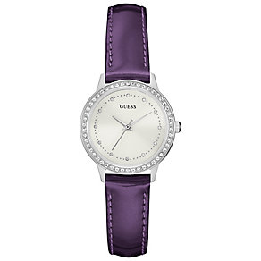 Guess Ladies' White Dial Purple Leather Strap Watch - Product number 5248574