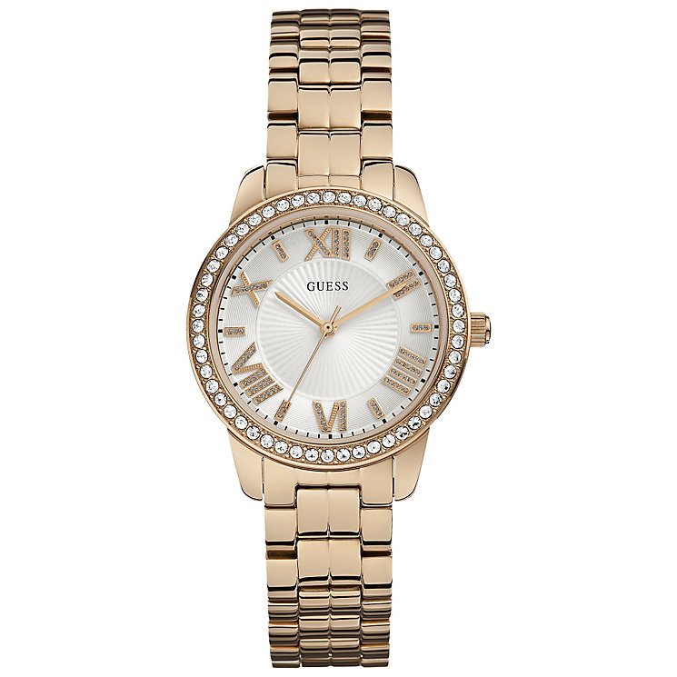 Guess Ladies' Stone Set Rose Gold Plated Bracelet Watch - Product number 5248620