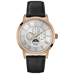 Guess Men's Silver Dial Black Leather Strap Watch - Product number 5248647