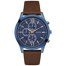 Guess Men's Blue Dial Brown Leather Strap Watch - Product number 5248698