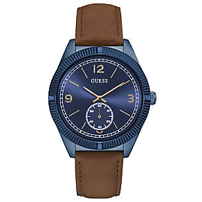 Guess Men's Blue Dial Brown Leather Strap Watch - Product number 5248701