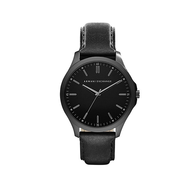 Armani Exchange Gents Black Leather Strap Watch - Product number 5249740
