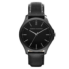Armani Exchange Men's Black Leather Strap Watch - Product number 5249740