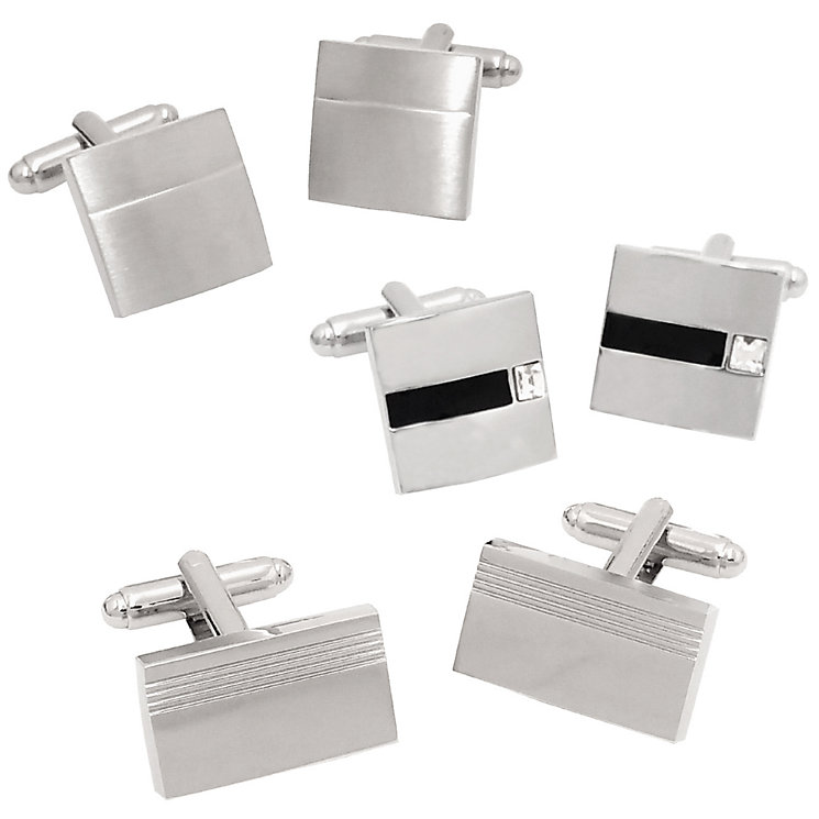 3 Piece Stainless Steel Cufflink Set - Product number 5249783
