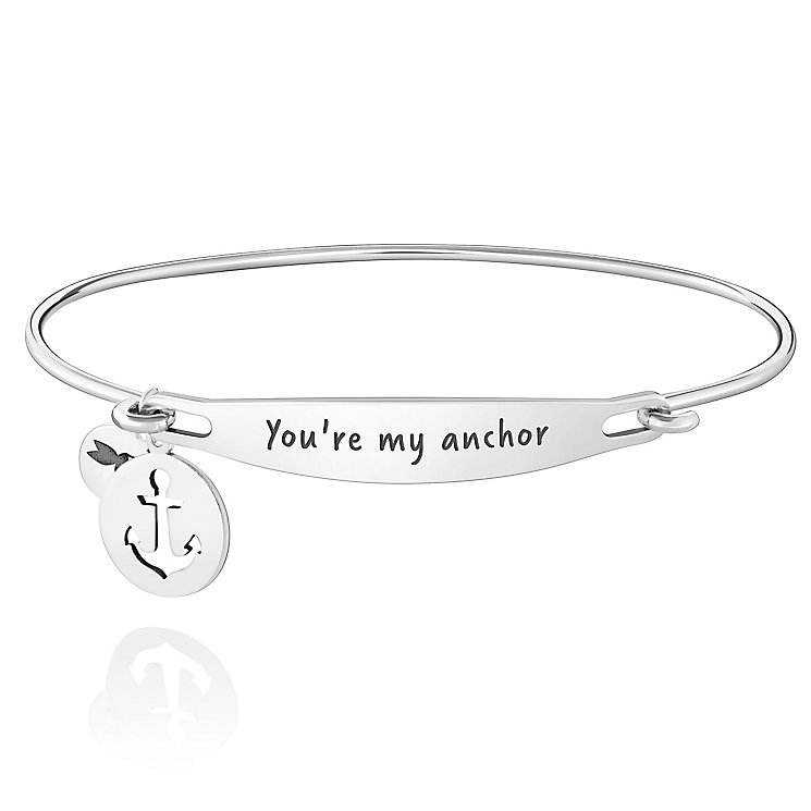 Chamila Sterling Silver You're My Anchor ID Bangle S/M - Product number 5252407