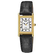 Seiko Solar Ladies' Gold-Plated Brown Leather Strap Watch - Product number 5252717