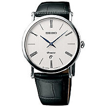 Seiko Premier Men's White Dial Black Leather Strap Watch - Product number 5252822