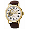 Seiko Men's Gold Plated Brown Leather Strap Watch - Product number 5252873