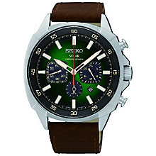 Seiko Men's Stainless Steel Solar Leather Strap Watch - Product number 5252946