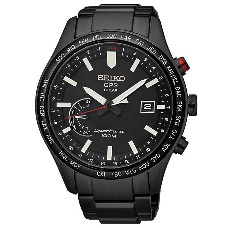 Seiko Sportura Men's Black Stainless Steel Bracelet Watch - Product number 5252962
