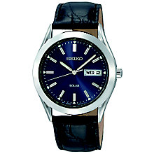 Seiko Solar Men's Blue Dial Black Leather Strap Watch - Product number 5253624