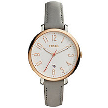 Fossil Jacqueline Ladies' Grey Leather Strap Watch - Product number 5253683