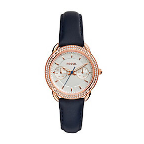 Fossil Tailor Ladies' White Dial Indigo Leather Strap Watch - Product number 5253705
