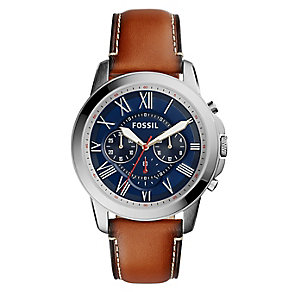 Fossil Grant Men's Chronograph Brown Leather Strap Watch - Product number 5253748