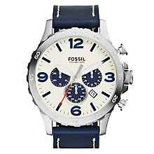 Fossil Men's Stainless Steel Blue Leather Strap Watch - Product number 5253756
