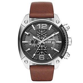 Diesel Overflow Men's Chronograph Brown Leather Strap Watch - Product number 5253993