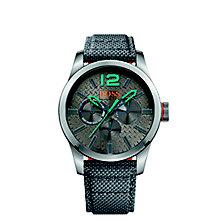 Boss Orange Paris Men's Grey Dial Silver Fabric Strap Watch - Product number 5254043