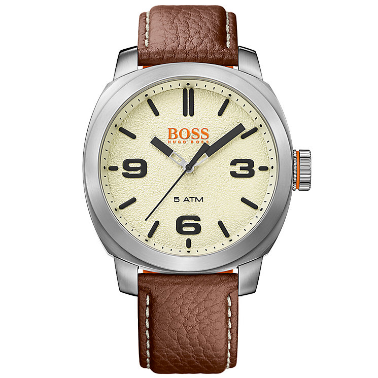 Boss Orange Capetown Men's Brown Leather Strap Watch - Product number 5254094