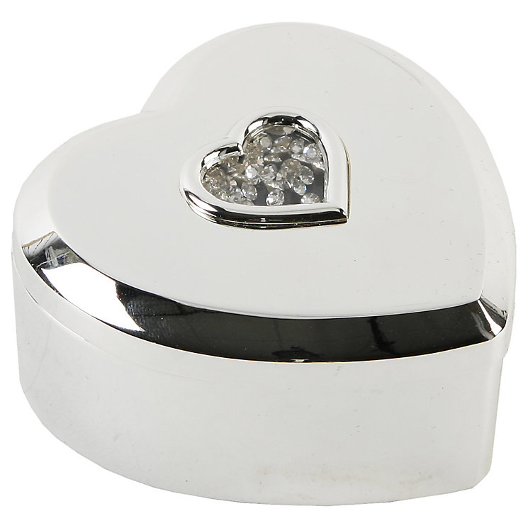 Silver Plated Crystal Heart Trinket Box - Product number 5256925