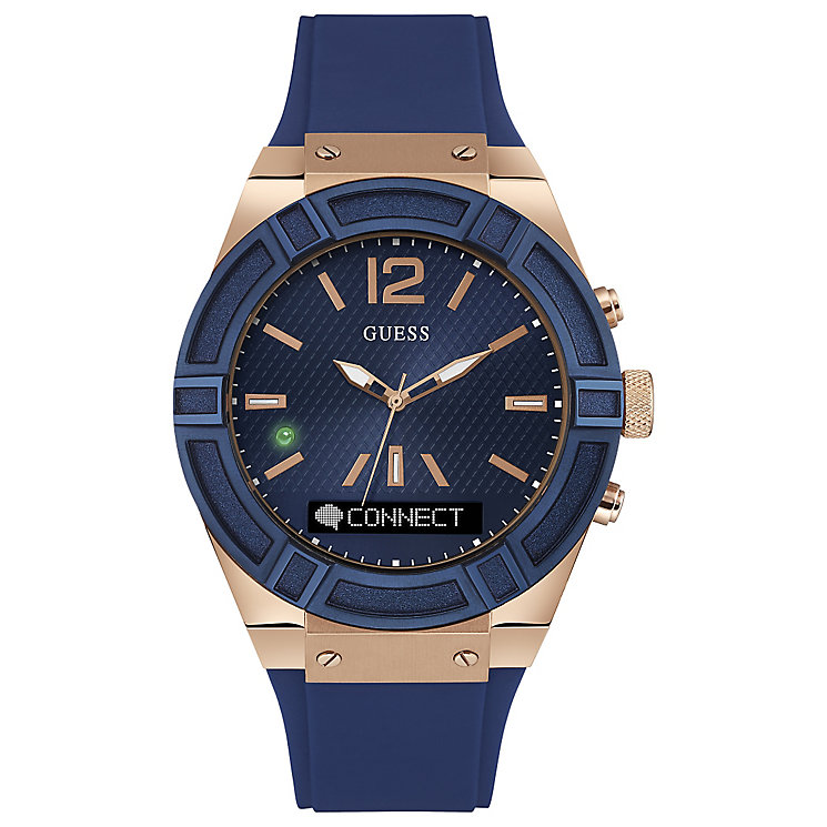 Guess Connect Blue & Rose Gold 45mm Smartwatch - Product number 5257336