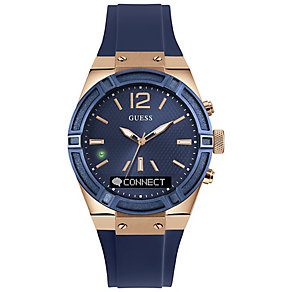 Guess Connect Blue & Rose Gold 41mm Smartwatch - Product number 5257379