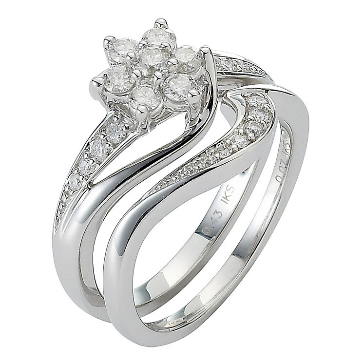 18ct White Gold 1/2ct Diamond Daisy Bridal Ring Set - Product number 5258138