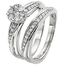 Perfect Fit 18ct White Gold 1/2ct Diamond Cluster Bridal Set - Product number 5258391