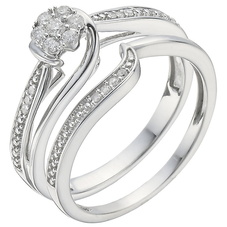 Perfect Fit 18ct White Gold 0.15ct Diamond Bridal Set - Product number 5259290