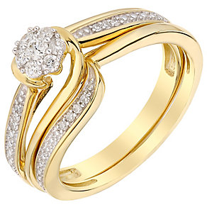 Perfect Fit 18ct Yellow Gold Diamond Cluster Bridal Set - Product number 5259436