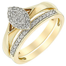 Perfect Fit 18ct Yellow Gold Marquis Diamond Bridal Set - Product number 5259843