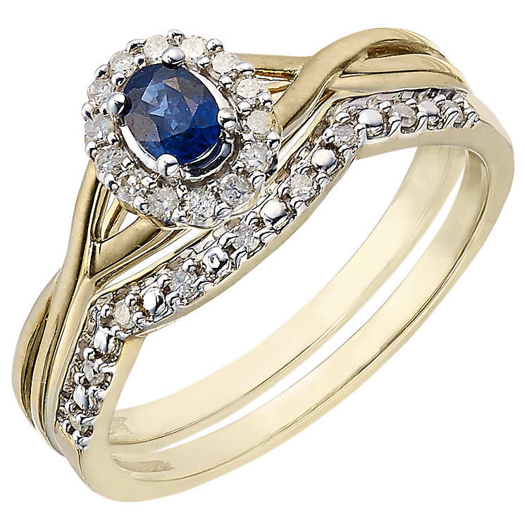 Perfect Fit 18ct Yellow Gold Sapphire & Diamond Bridal Set - Product number 5260116