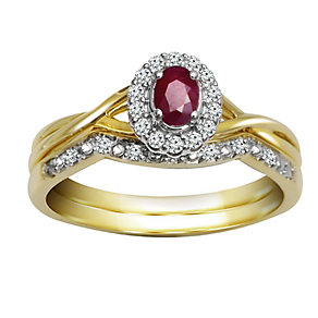 9ct Gold Ruby & Diamond Bridal Ring Set - Product number 5260248