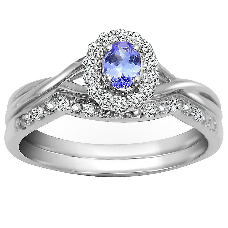 9ct White Gold Tanzanite & Diamond Bridal Ring Set - Product number 5260361