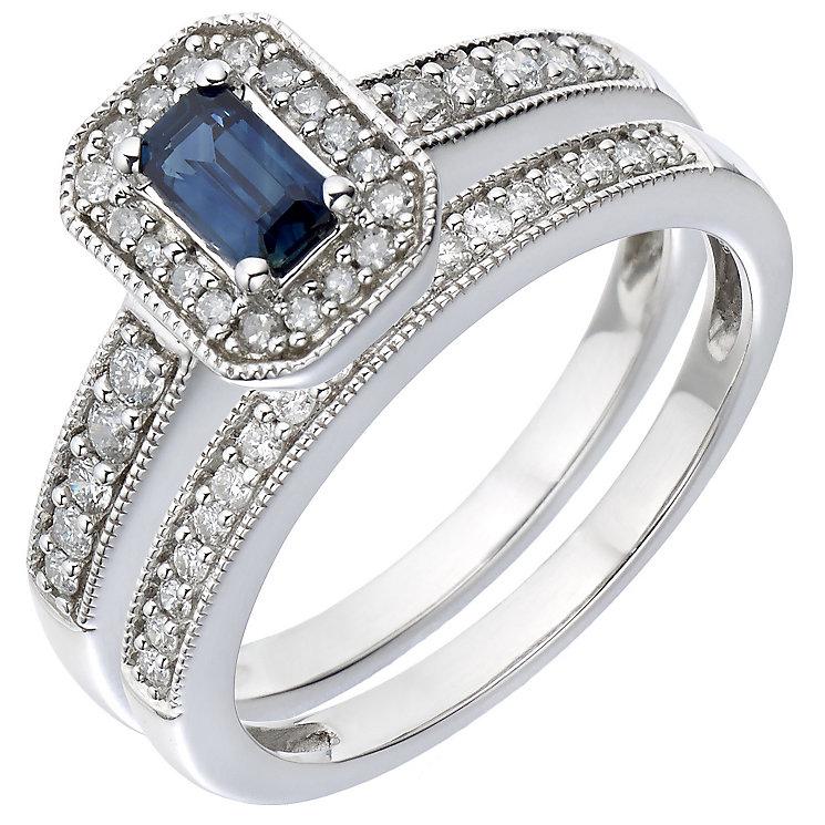 18ct White Gold Diamond & Sapphire Vintage Bridal Set - Product number 5260515