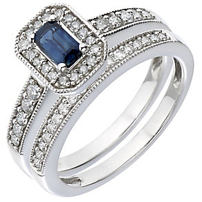 18ct White Gold Diamond & Sapphire Vintage Bridal Set - Product number 5260515