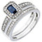 18ct White Gold Diamond & Sapphire Vintage Bridal Set - Product number 5260701